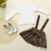 2pcs Toddler Kids Girls Long Sleeve Pullover Tops Mini Dress Outfit Set Skirts
