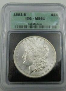 1881 S Morgan Silver Dollar ICG MS61  (594)