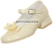 Girls White Heel Pearl Bow Shoes Dress Church Wedding Party Dance Holy Baptism