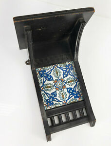Antique Aesthetic Movement Wood Wall Shelf Turkish Iznik Style Porcelain Tile