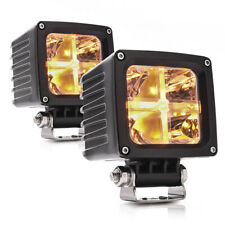2PCS 25W LED Pods Amber Marker Light Super Spot 3.4 inch 4000LM LED Cube Light