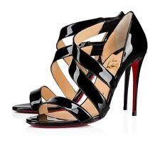 Christian Louboutin World Copine 100 Black Patent Strappy Sandal Heel Pump 40.5