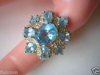 Opulenter Ring aus 925 Sterling Silber mit blauen Farbsteinen 8,4 g /RG 53