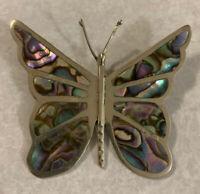 Beautiful Abalone Inlay Silver Butterfly Brooch/Pin