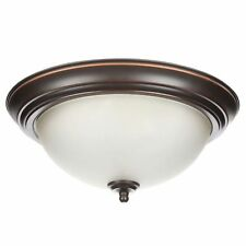 Commercial Electric 2-Light 13 in. Oil Rubbed Bronze Flushmount (Twin-Pack)