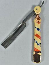 Koken Barber Co., Straight Razor with Handles shaped like a Barber Pole