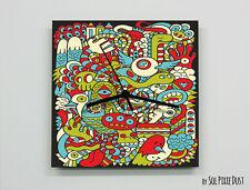 Colorful Cartoon Abstract seamless pattern Wall Clock