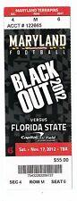2012 MARYLAND TERRAPINS VS FLORIDA STATE SEMINOLES FOOTBALL TICKET STUB 11/17/12
