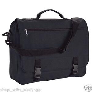 Messenger Bag - Black Adjustable Shoulder Satchel for Office Work College School