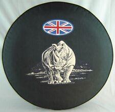 "SpareCover® Brawny Series - Rhino 30"" Union Jack on Black Denim Vinyl Tire Cover"