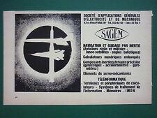 5/1969 WERBUNG SAGEM AERONAUTIQUE GYROSKOP NAVIGATION INERTIAL ESPACE FRENCH AD