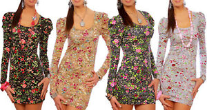 Womens Floral Dress with Puff Sleeves Bodycon Mini Tunic with Pattern 2100