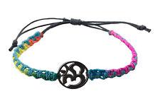 Bracelet bresilien ethnique multicolore Om hindu fil gris Ø 19mm - 25652