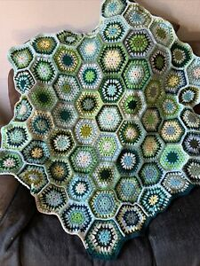 Newly Crocheted Hexagonal Throw/ Rug
