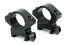 """2-Piece 1"""" Tactical Rifle Scope Rings Low Profile Picatinny 20mm Base Laser"""