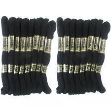 16 Paquete Negro Hilado Punto de Cruz Algodón Bordado Hilos Madejas Costura