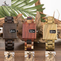 BOBO BIRD Casual Square Wooden Quartz Dial Wood Men's Watch Father's Day Gift