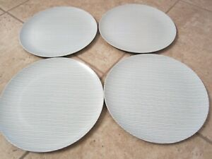 Hearth and Hand Magnolia 4 Bamboo Melamine Ticking Stripes Dinner Plates Teal