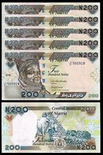 NIGERIA 200 NAIRA 2018 , UNC , 5 PCS CONSECUTIVE LOT ,P-29 , NEW DATE