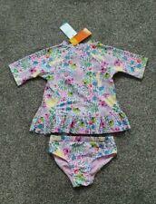 BNWT Girls Matalan Pink Floral Sunsafe Suit 2 Piece Swim 3 3-4 4 Years