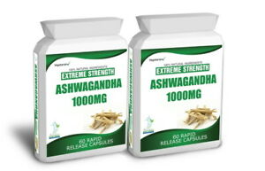 120 ASHWAGANDHA CAPSULES DAILY DOSE 2000mg 2 MONTHS SUPPLY