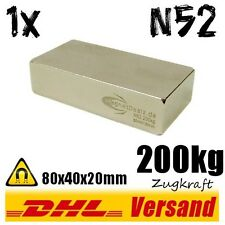 Neodym Magnet High Power Blockmagnet 80x40x20mm 8x4x2cm N52 200kg hohe Zugkraft