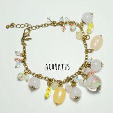 Avon Bracelet Beads Floral Round Stone Pretty Gold Copper Orange Multi