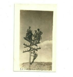 Vintage ca 1918 RPPC Postcard Yellowstone National Park Telephone Linemen