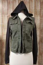 Free People Hybrid Distressed Knit Hooded Jacket Womens XS Olive Green Black