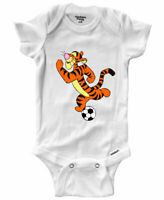 Infant Gerber Onesies Bodysuit Baby Gift Winnie the Pooh Tigger Playing Soccer