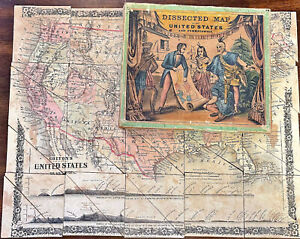 Antique Colton Lithographed Jigsaw Map of the United States Dated 1860