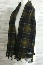 BARBOUR Scarf MADE in SCOTLAND Green Check 75% Lambswool 25% Angora Tassel Edge