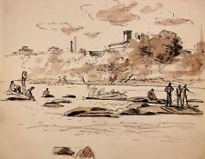 WALTER STUEMPFIG 20th c. American DRAWING Young Men Swimming Hole PA