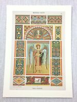 1883 Antique Print Medieval Art Religious Christian Saint Angel Wall Painting