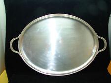 Joli important plateau en métal argenté décor perles