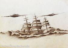 DISEGNO BOZZETTO DRAWING LAPIS SU CARTA 1900 VELIERO BARCA NAVE SHIP 07