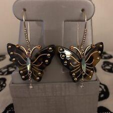 Womens Betsey Johnson Gold-Tone Tortoise Butterfly Drop Earrings New!