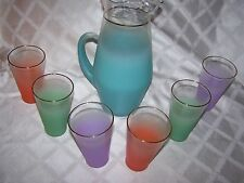 7 PC Vintage Blendo Set Multi-Color Frosted Glasses And Tall 84 oz Pitcher