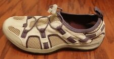 Lands End Slip On Trekker shoes womens creme and purple color size 6 B