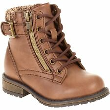 Faded Glory Girls Ankle Lace Boot, Brown, Size 4 New