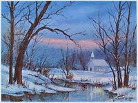 Vintage ART PRINT Country Church at Twilight BROWN COUNTY Indiana HAROLD HANCOCK