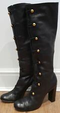 MARC JACOBS Black Leather Gold Tone & Elastic Fastened Knee High Boots 38.5 UK5.