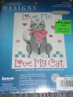 "DESIGNS FOR THE NEEDLE Counted Cross Stitch Kit - LOVE ME LOVE MY CAT 8"" x 10"""