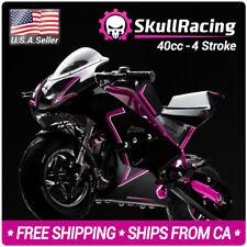 SkullRacing Gas Powered Mini Pocket Bike Motorcycle 40RR (Pink)
