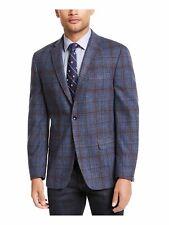 Tommy Hilfiger Mens Blue Mini Grid Sport Coat Size 38r