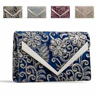 Ladies Sequin Floral Clutch Bag Embroidered Evening Bag Flower Handbag KZ2325