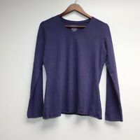 Mossimo Supply Co Womens V Neck T Shirt Size l Long Sleeve Purple cotton