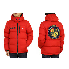 Polo Ralph Lauren Hooded Down Puffer Jacket w/ Emblem Patch Back - Red