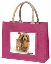 Dachshund and Kitten 'Soulmates Large Pink Shopping Bag Christmas Pr, SOUL-29BLP