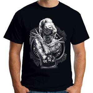 Velocitee Mens T-Shirt Marilyn Monroe Outlaw Pop Art Tattoo Gangster A18519
